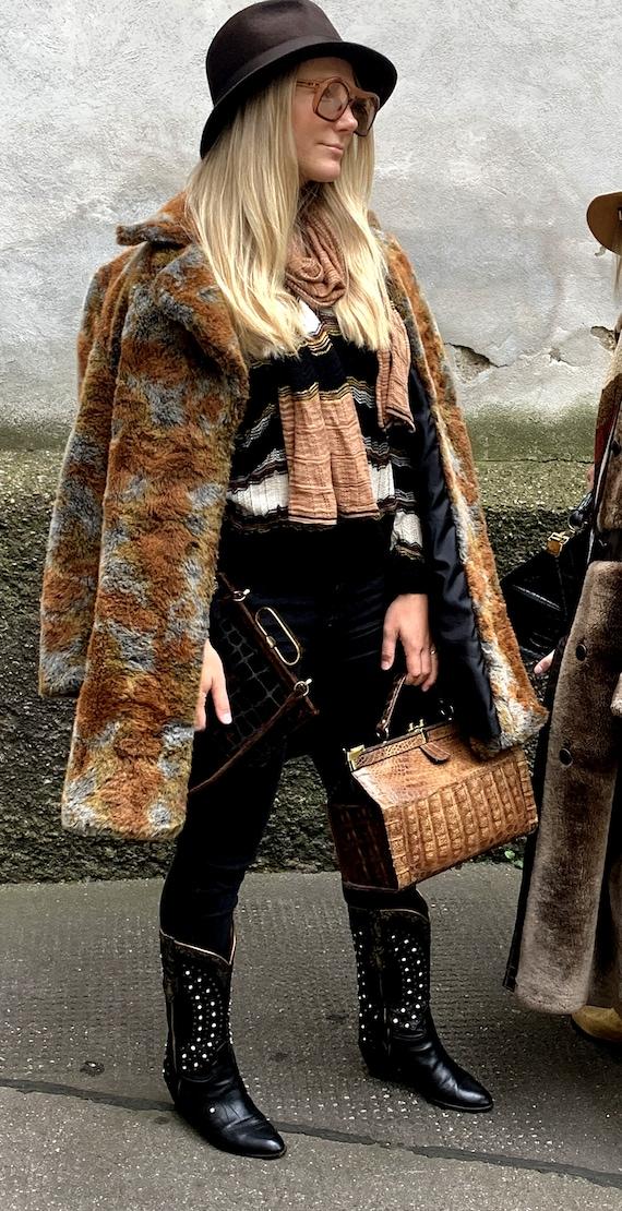 Vintage Oversize Teddycoat Fake Fur coat camouflag