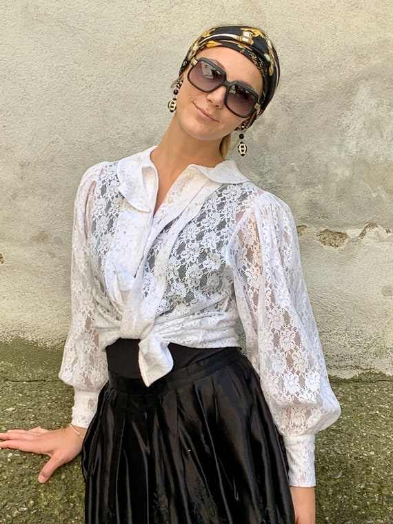 Vintage Constanze lace blouse in white Folklore St