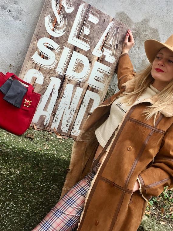 Vintage 70s Lambskin Coat Leather coat 70s Turnin… - image 6