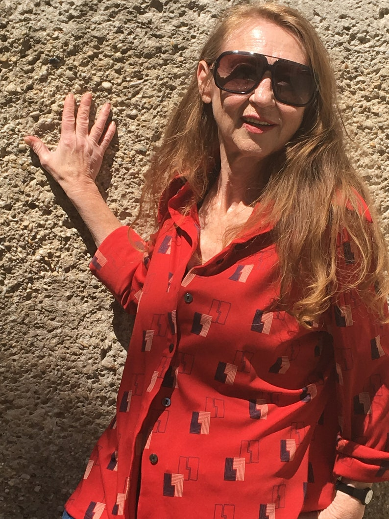 F Vintage 70s W Fred Adlm\u00fcller Vienna blouse street trend