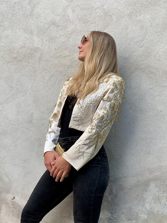 Vintage 90s Evening Spence Sequins Jacket Blazer w