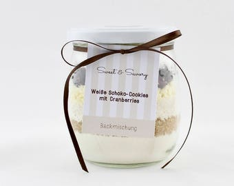 2.57 Euro/100g baking mix, cookies cranberries with white chocolate, biscuits, baking mixture in the glass, gift for birthday, Christmas
