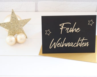 Folding Card Merry Christmas with Golden Envelope - Christmas, Greeting Card, Gift Card, Christmas Card, Christmas, Nicholas