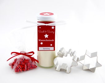 6.18 Euro/100g gift Set Moose Christmas baking mix in glass with red chocolate lentils-as a gift Christmas, Santa Claus, Birthday