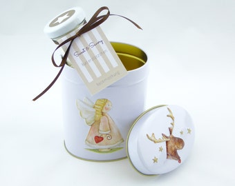 7.31 Euro/100g gift set baking blends butter cookie biscuits Christmas, metal tin Christmas Angel Moose Santa Claus