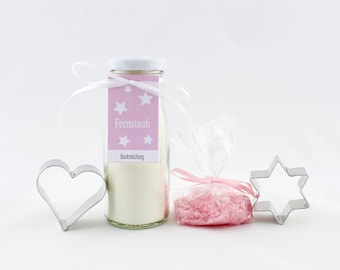 5.63 Euro / 100g gift set fairy dust, baking mix with cookie cookie cutter as heart and star, butter cookies with pink glitter, gift