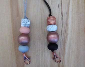 Silicone and Wood Beaded Lanyard I.D Badge Cruise Card Holder rose gold marble