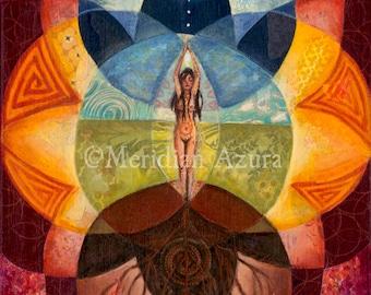 ACEO Divine Feminine/ Goddess/ Sacred Geometry/ Rebirth/ Altar Art