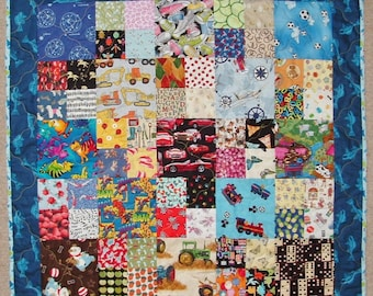 I-Spy Style with 94 Novelty Fabrics Unique Handmade Patchwork Heirloom Bed Quilt