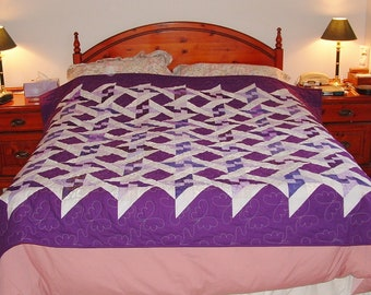 Unique Handmade Patchwork Heirloom Qeen Bed Quilt - Interlocking Purple