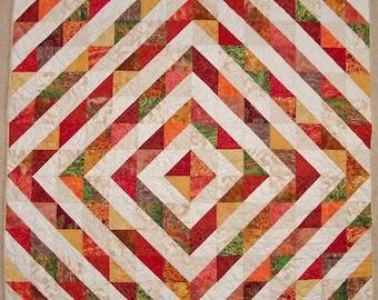 Unique Handmade Patchwork Heirloom Lap Quilt - Barn Raising