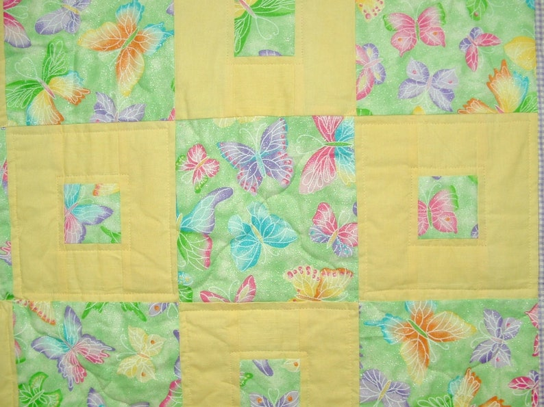 Butterfly Squares Unique Handmade Patchwork Heirloom Cot Quilt