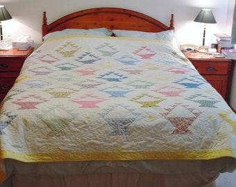 Unique Handmade Patchwork Heirloom Bed Quilt - Fruit Basket