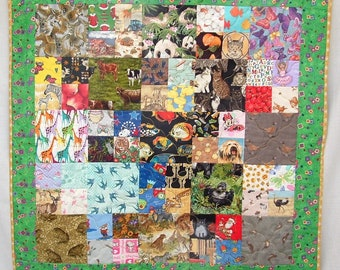 Unique Handmade Patchwork Heirloom I-Spy Quilt - Animals (238)