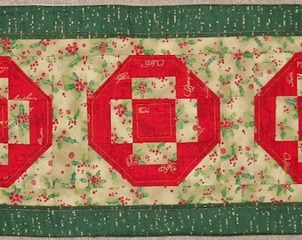 Unique Handmade Patchwork Heirloom Quilted Xmas Table Runner - XM14