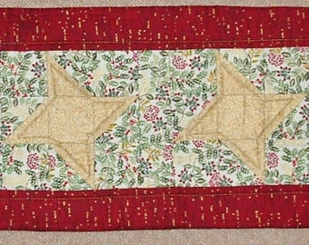 Unique Handmade Patchwork Heirloom Quilted Xmas Table Runner - XM13