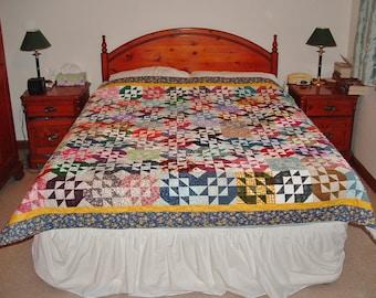Unique Handmade Patchwork Heirloom Bed Quilt - Treasure Chest