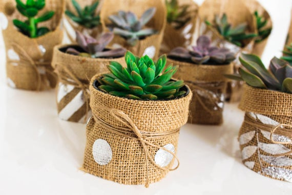 Silver Spot Hessian Wedding Favour