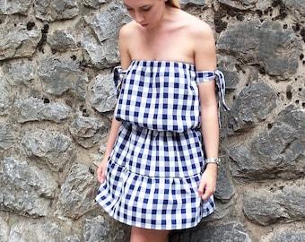 Off the shoulder dress / Off shoulder gingham dress / Blue dress / White dress / Handmade off shoulder dress / Summer dress / Gingham dress