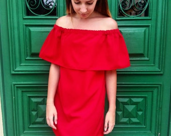 Off the shoulder dress   Red off shoulder dress   Red summer dress   Woman summer  red dress   Casual summer dress d89ba85a8790
