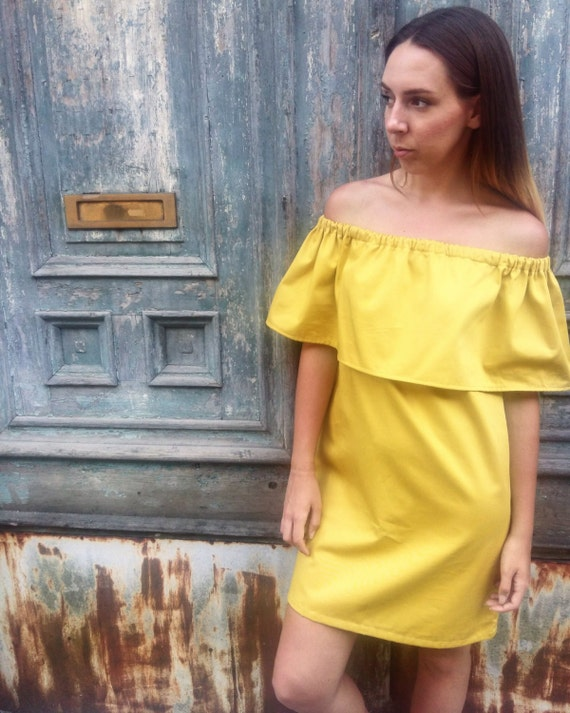 9c70aee081e7 Off the shoulder dress   Yellow off shoulder dress   Summer