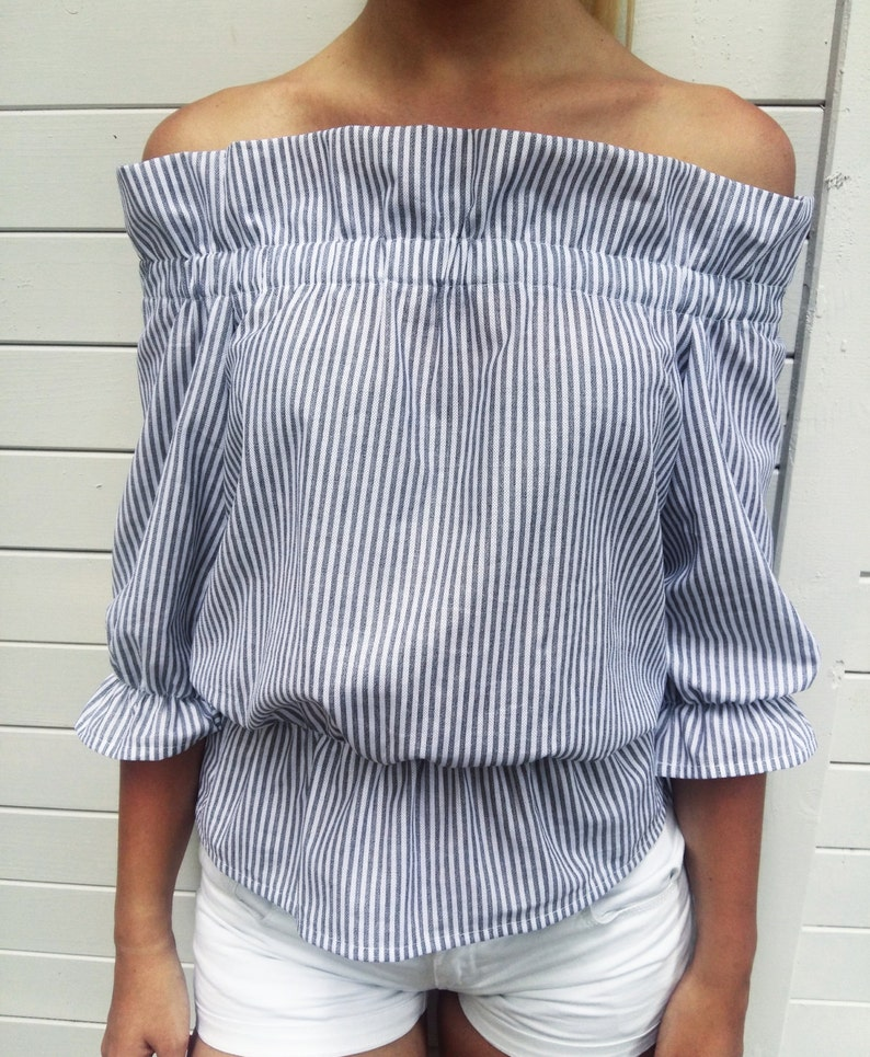 7552a4f181816f Stripped off shoulder top   Off the shoulder top   Handmade