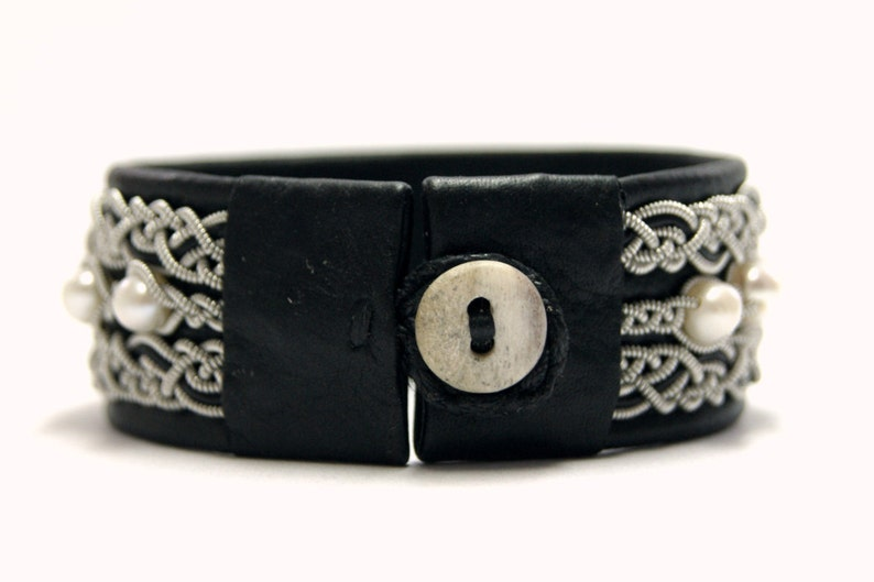 White pearl beaded jewelry Wide cuff bracelet Womens black leather bracelet Leather Swedish jewelry Sami Viking Lapland armband