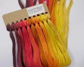 10 colour pack Classic Green Pack Hand Dyed Silk Embroidery Threads