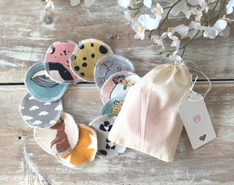 10 x Reusable Face Wipes, Soft Reusable Make Up Pads, Cotton, Eco Friendly Zero Waste, Facial Rounds, Gift For Her, Mother's Day Gift