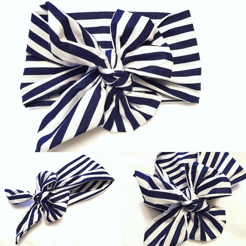 Navy blue and white stripes head wrap 1 pc