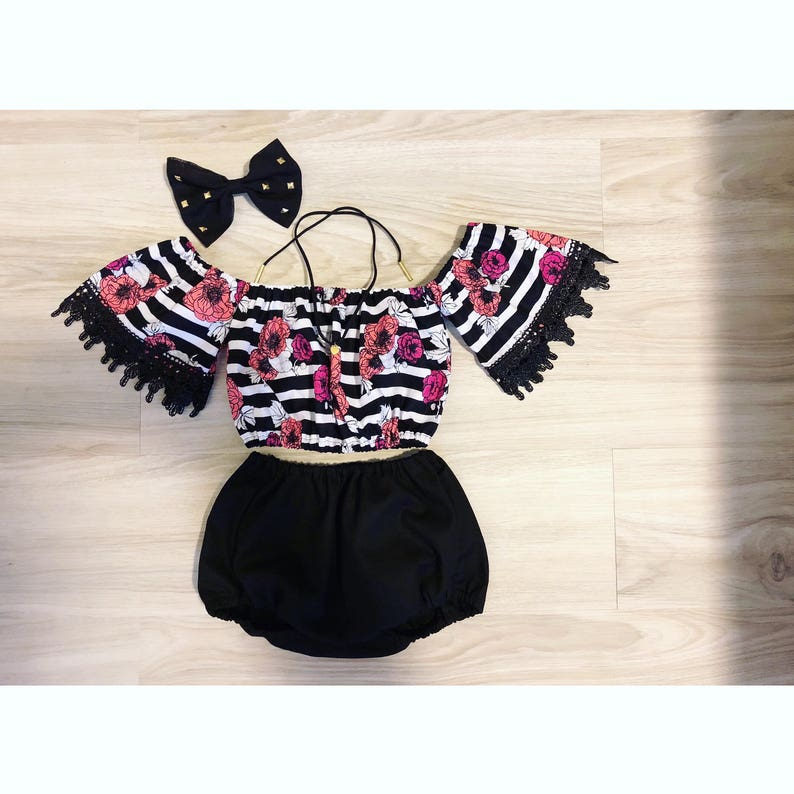 bow and choker not included Black and white stripes /& florals off shoulder tube top with trimming and bloomers set