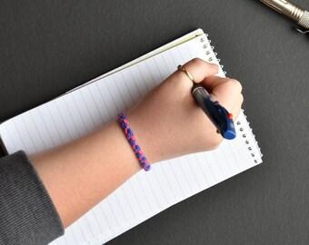 Handmade bi pride, leather bracelet, pride month, lgbt pride, minimalist, gift, gift for her, gift for him, gift for them, bracelet, suede