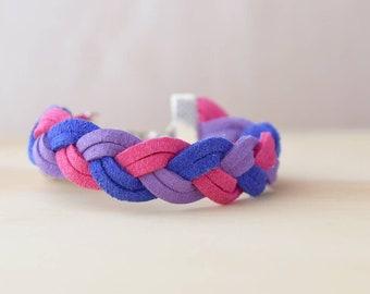 Braided bisexual pride bracelet