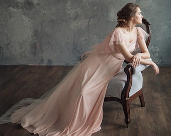 Blush pink wedding dress - Mirtselia || Pink wedding dress || Pink wedding gown