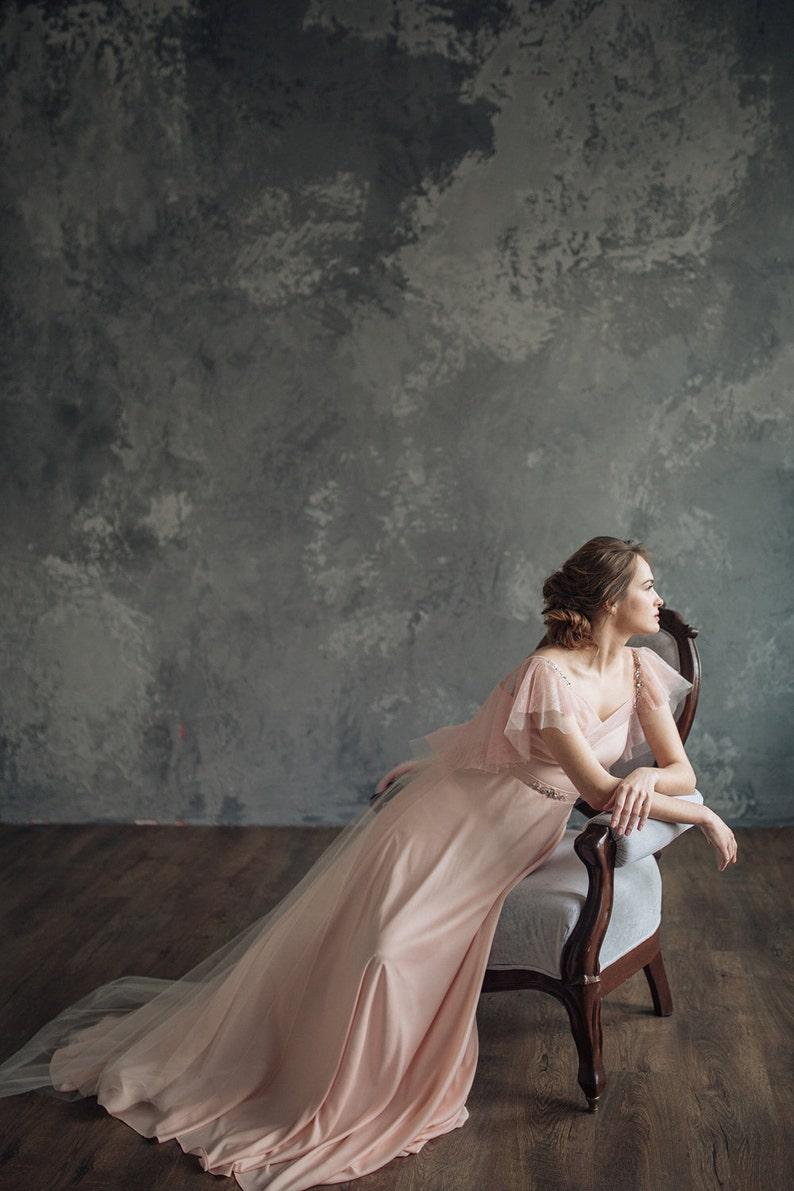 Blush pink wedding dress  Mirtselia  Pink wedding dress  image 0