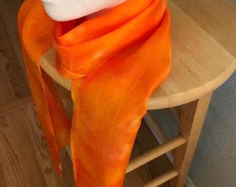 Vibrant Orange Silk Scarf