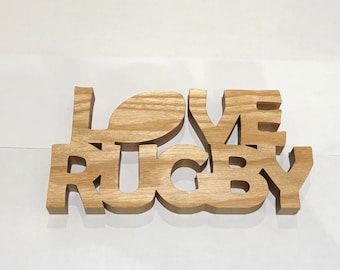 Love rugby sign, wooden rugby gift, rugby player gift, rugby fan gift Christmas present, stocking filler