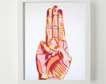 Scout's Honor Hand Sign- Art Print, Wall Art, Hand Sign Art, Hand Portrait, Colorful Art, Colorful Painting, Colorful Print, Playful Art