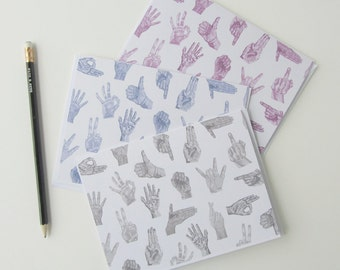 All Hands On Deck- Art Note Cards, Hand Sign Art, Hand Portrait, Colorful Art, Playful Note Cards, Greeting Cards