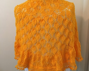 Shawl - Yellow/Orange Lace