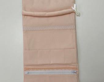 Peach jewellery roll