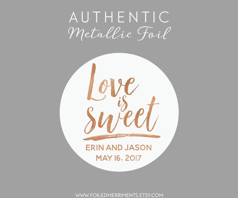 Custom Wedding Favor Sticker Love Is Sweet Sticker Wedding Etsy