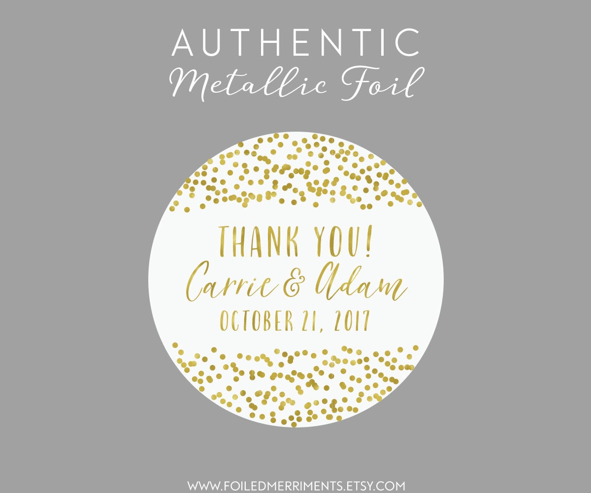 Custom thank you sticker stickers for labels wedding favor labels confetti wedding sticker favor label gold wedding sticker ws 9