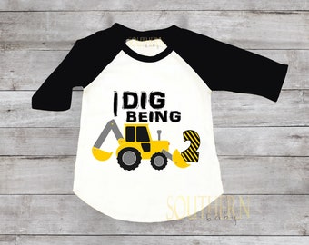 I Dig Being Two Second Birthday Construction Smash Cake Dump Truck 2nd Shirt 1