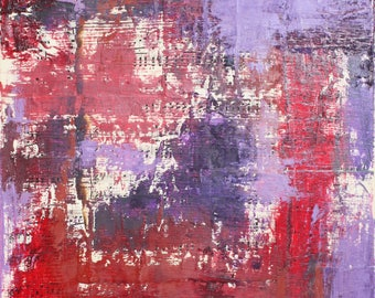 Abstract Mixed Media Painting - Oil Paint and Sheet Music Collage