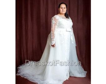 63f547079d49 Plus size wedding dress, Wedding dress with detachable train, Lace wedding  dress with sleeves, Lace wedding dress with train, Wedding gown