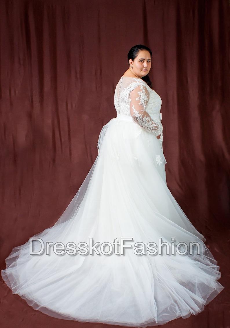 80a7bea158 Plus size suknia ślubna suknia ślubna z odpinanym pociągiem