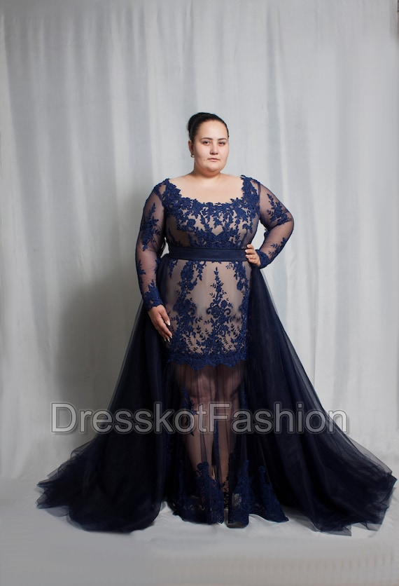 Dark blue wedding dress plus size, Navy blue