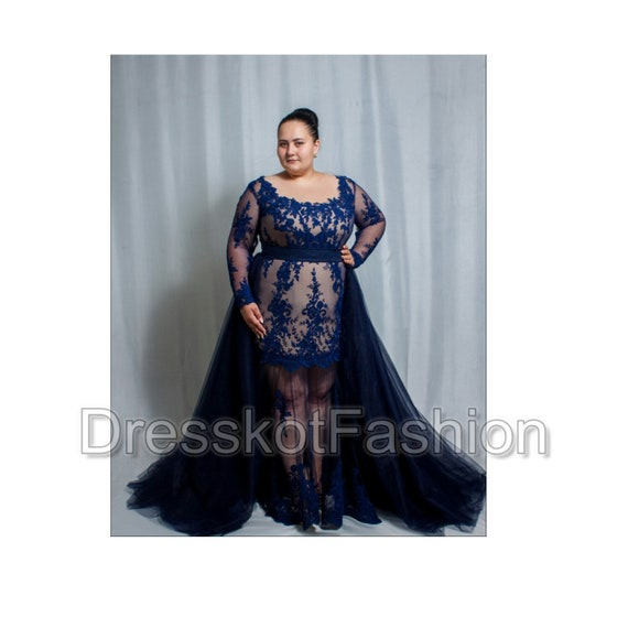 Dark blue wedding dress plus size Navy