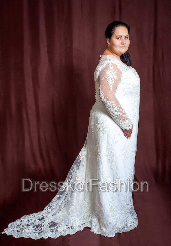 Plus size wedding dress, Wedding dress with detachable train, Lace wedding  dress with sleeves, Lace wedding dress with train, Wedding gown